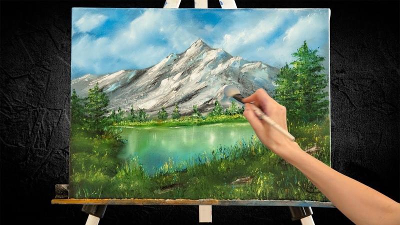 Картина горное озеро Переведи дух Живопись под музыку Пейзажная живопись маслом