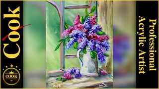 English Lilacs in a Window Acrylic Painting Quarantine Quickie #41 with Ginger Cook