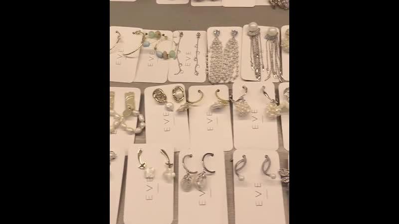 Видео обзор (магазин на Маяковского,21). Серьги с жемчугом, акрилом, цирконами, кварцем.