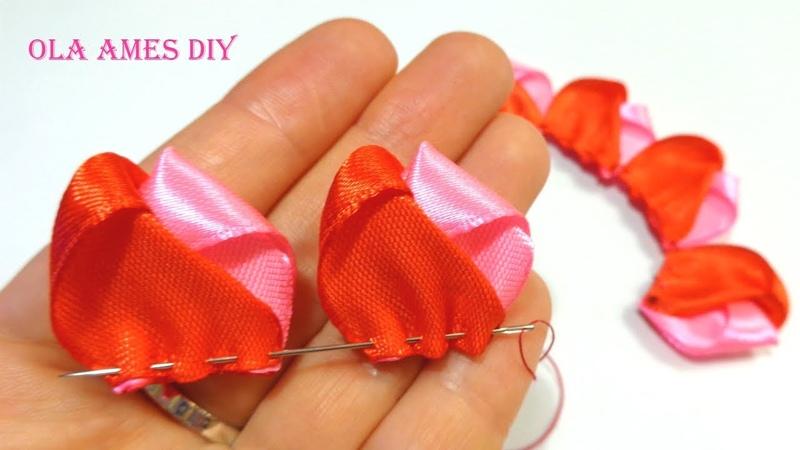 Цветы Канзаши Hand Embroidery Flowers Design Amazing Ribbon Flower Work Ribbon Hacks Ola ameS DIY