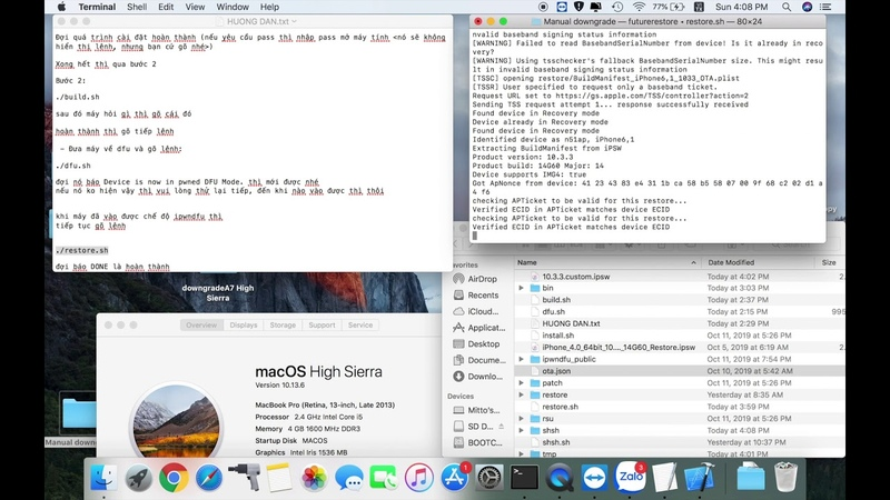 DOWNGRADE IPhone 5S TO IOS 10 3 3 WITH HIGH SIERRA