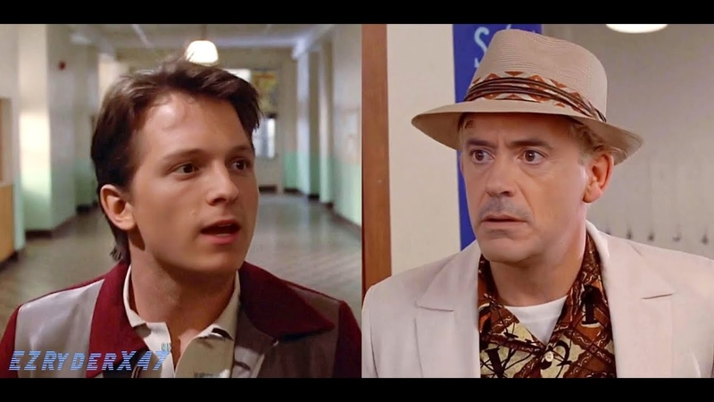 Robert Downey Jr and Tom Holland in Back to the future This is heavy deepfake