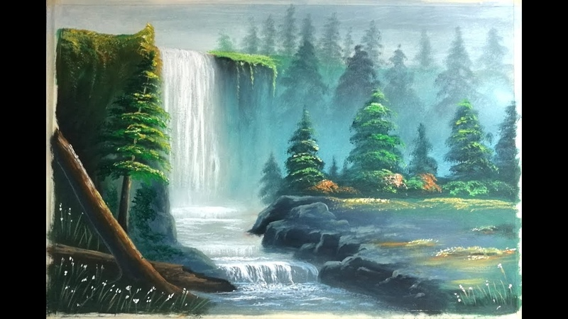 How to draw river landscape scenery of mountain waterfalls.Draw beautiful mountain landscape.Nice