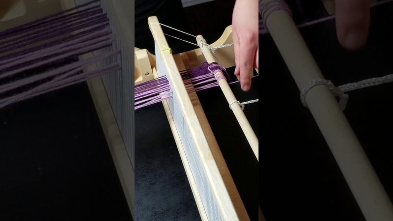 Diamond Twill Pattern on Rigid Heddle Loom warping the loom 2 of 6