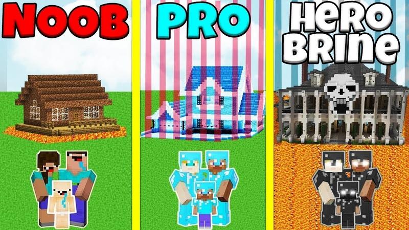 Minecraft Battle NOOB vs PRO vs HEROBRINE SAFEST FAMILY HOUSE BUILD CHALLENGE Animation