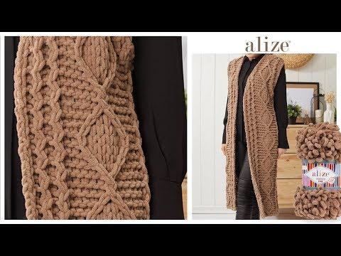 Alize Puffy Fine ile desenli uzun yelek - Patterned Long Vest w Alize Puffy Fine