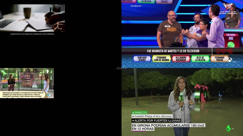 Mosaico 4 canales tv tarde Aqui la tierra, Boom, Salvame, Sexta Noticias OBS 4K Martes 22-10-19 20-30-42