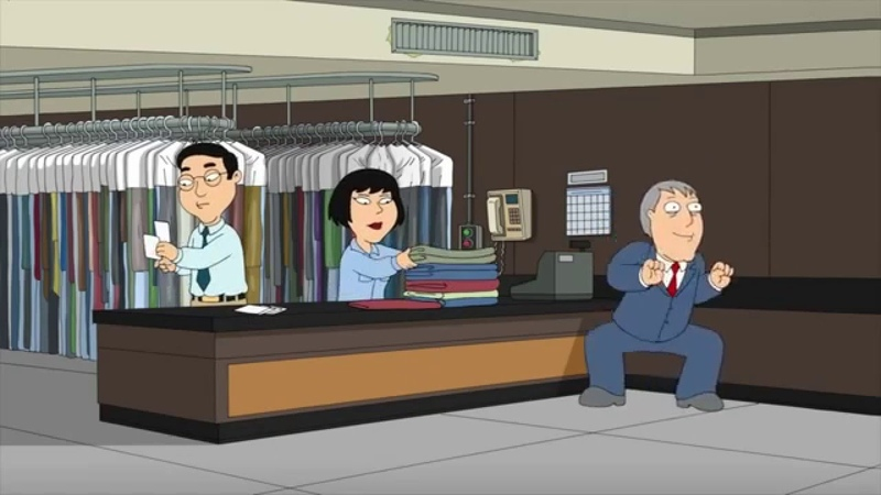 Family Guy Mayor West Jamming In A DryCleaning