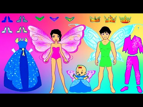 PAPER DOLLS FAMILY OF FAIRY DRESS UP FATHER MOTHER DAUGHTER CLOTHES PLAYING QUIET BOOK