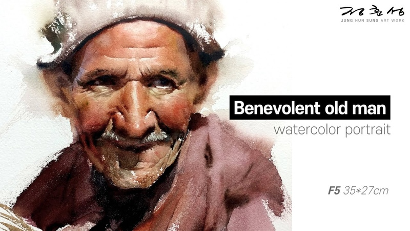 Watercolor portrait painting │ 인물수채화 초상화 취미미술 │ Benevolent old man