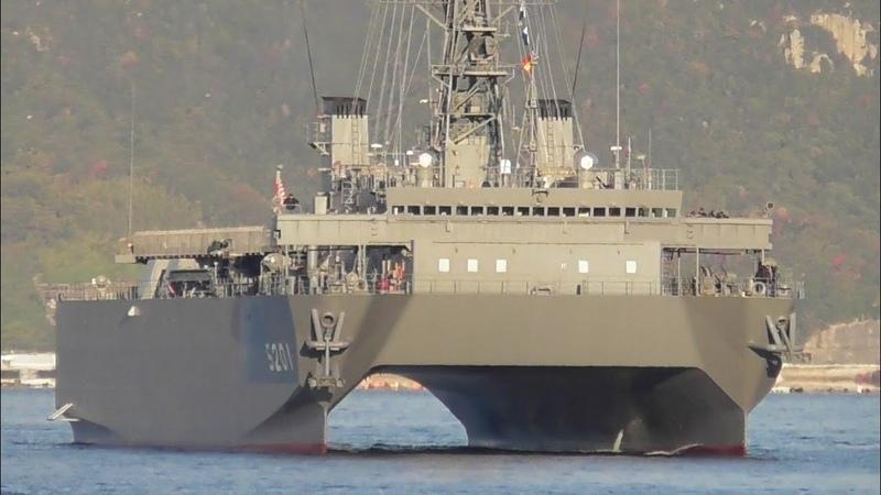 呉にしか配備されていない機密艦 音響測定艦ひびき 入港 Ocean Surveillance Ship Hibiki AOS 5201 Japan