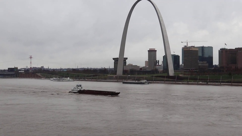 River Boat Barges on the Mississippi River in St Louis Missouri