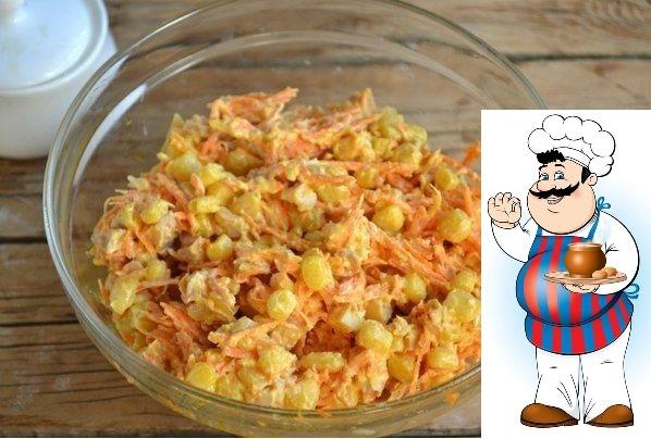 Салат с корейской морковкой и копченой курицей. Ингредиенты: Морковь по-корейски 400 Грамм Копченый окорок 1 Штука Кукуруза консервированная 200 Грамм Как приготовить Салат с корейской