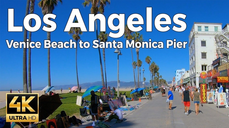 Los Angeles, California Walking Tour - Venice Beach to Santa Monica Pier (4k Ultra HD 60fps)