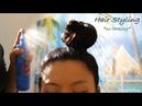 ASMR HAIR STYLING No Talking Brushing Knots De greasing BIG BUN LAYING EDGES w Hair Products