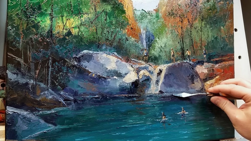 Swimming Hole Emma Gorge How to Oil Painting Palette Knife Brush National Park Dusan
