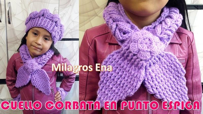 Cuello, Bufanda o Chalina Circular modelo corbata tejido a crochet en punto espiga paso a paso