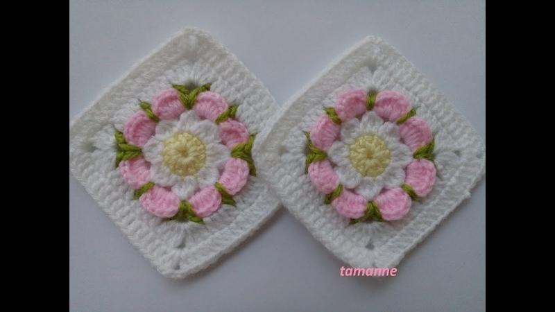 Çiçekli Bebek Battaniye Motifi