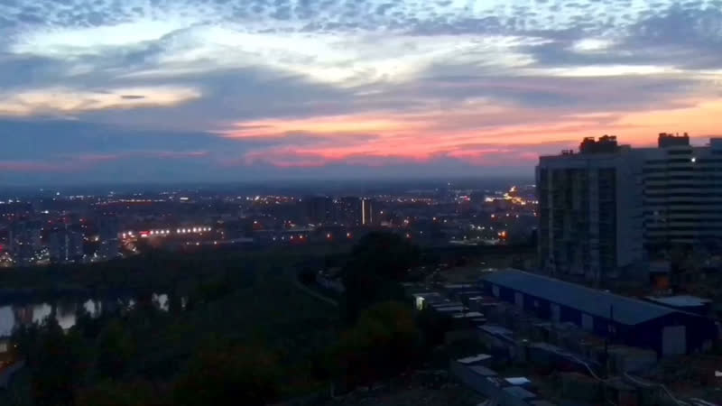 Ускоренный закат Вид из окна ЖК Маршал Град