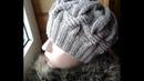 Шапка спицами из объемных кос. Часть 1 Women's hats knitting