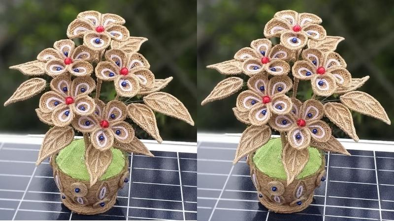 DIY Flower Flower Vase Decoration with Jute Burlap    Home Decor Jute Flower With Pot Making Idea