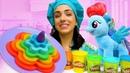 Детское видео про игры в готовку с пластилином Готовлю игрушкам. Май Литл Пони Радуга ждет торт