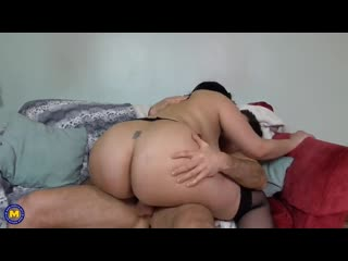 Hairy busty British MILF takes big white cock