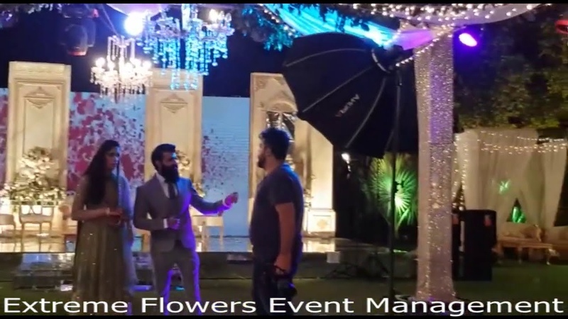 Outdoor Decoration Ideas for Walima Event in Night View by Extreme Flowers Event Management