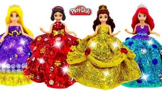 Play Doh Super Sparkle Dresses Making for Disney Princess Ariel, Belle, Rapunzel & Snow White