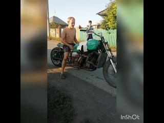 Мотоцикл с двигателем от ваз 2106 пробный выезд #2