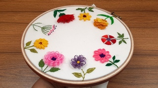Hand embroidery easy 9 flowers design#gorgeous flowers tutorial