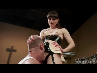 Shemale Natalie Mars in fetish lingerie caught her biggest male fun masturbate and then made him suck her dick and rimming