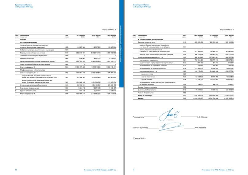И снова баланс ПАО «Газпром» за 2019 год, пассив