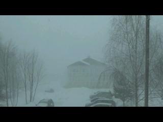 Сильный ливневый снежный заряд в Вязниках  Time lapse