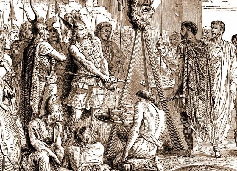 Ну и последняя поучительная история связана с мирными переговорами. Римляне стали обвинять галлов в том, что те жульничают с весами и потребовали проверки. На что Бренн, вождь галлов (и вообще первый галл, которого история знает по имени), бросил на весы ещё и свой меч, сказал «Горе Побежденным». После чего римляне немедленно перестали выебываться и догрузили столько золота сколько понадобилось. Но запомнили, ох как хорошо запомнили. Посмотрите на лицо латина на переднем плане, у него явно трещит шаблон и в голову проникают некие инсайды, хехехе.