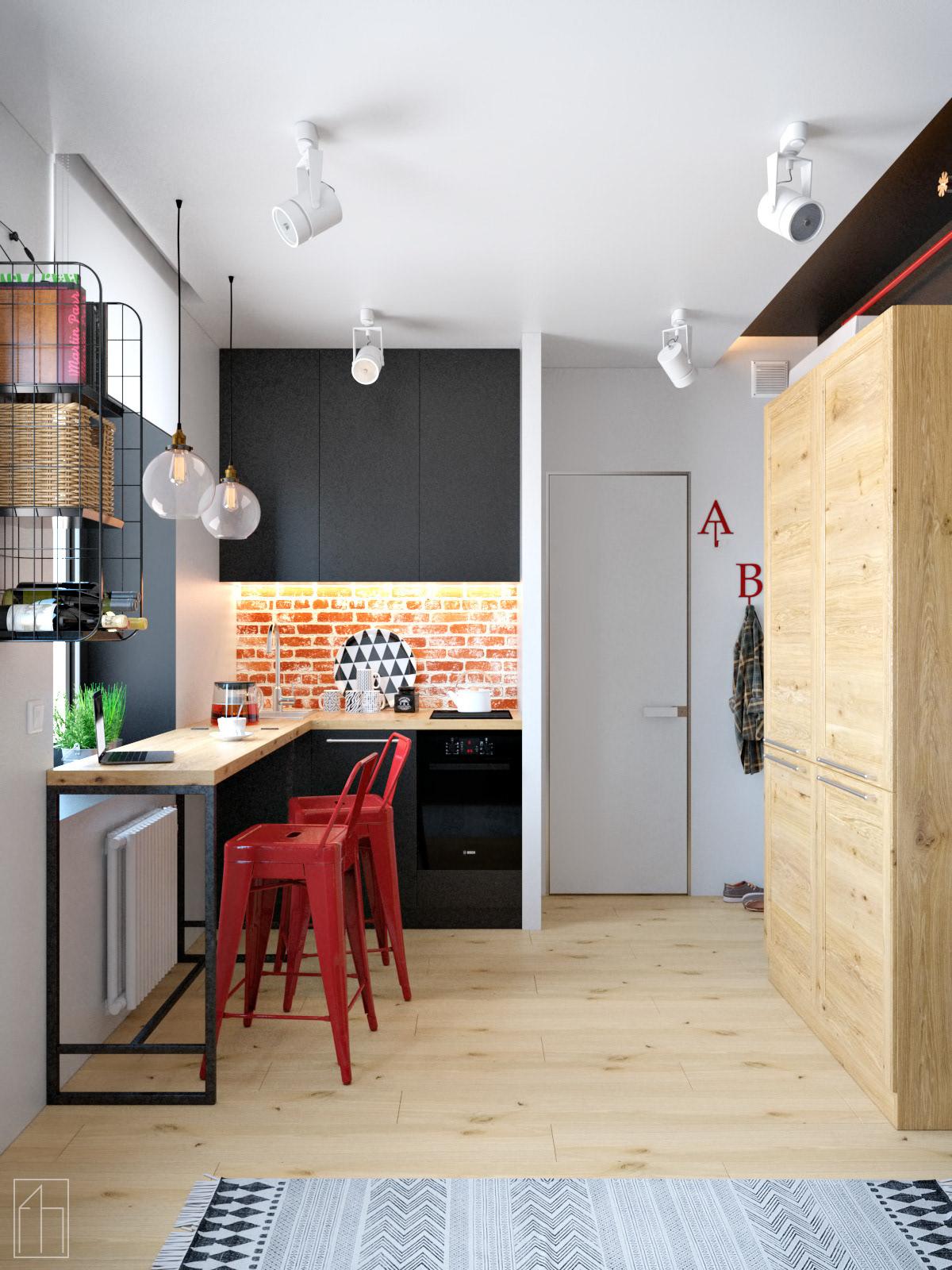 Проект маленькой квартиры-студии 17,3 м.