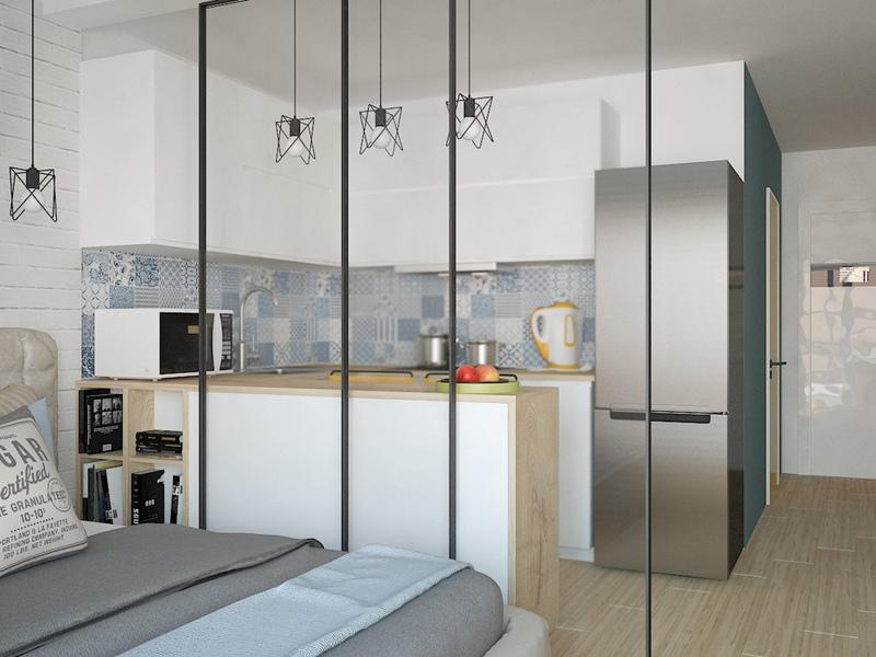Проект квартиры-студии 40 м с учетом лоджии.