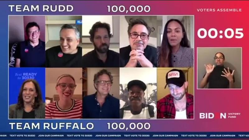 Камала Харрис и актерский состав Мстителей во время благотворительной трансляции Избиратели общий сбор