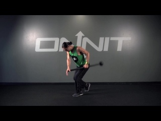 26 Staggered Stance Offset Side Row Steel Mace Exercise