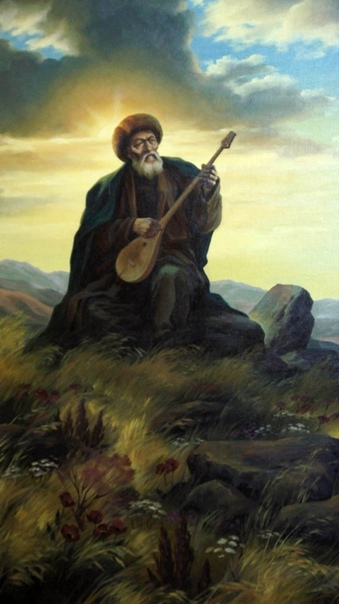 Песня о братстве народов Джамбул. (С казахского перевел К. Алтайский)Пришли ко мне люди на ясной заре. Сыграй нам о прошлом, ата (1), на домбре. Я тронул струну, но не в духе домбра, В глухом
