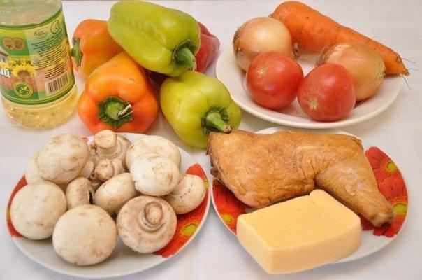 Запеченная курица с грибами и сыром в перце