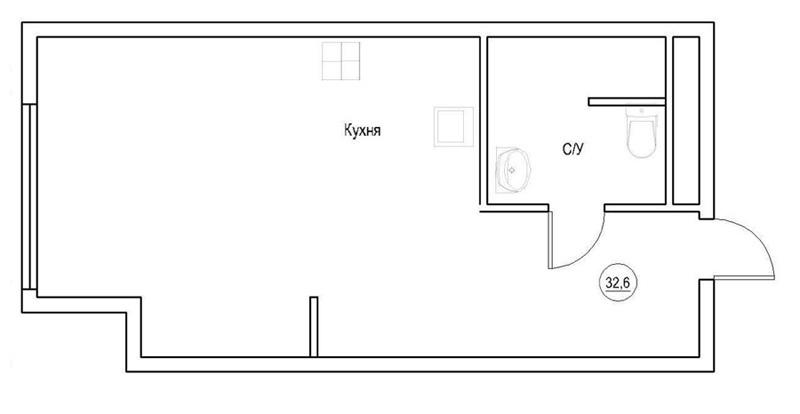 Интерьер квартиры-студии 32,6 м в ЖК «Лайнер» в Москве.