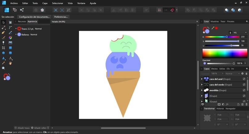 Interfaz de Affinity Designer