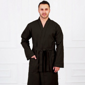 Вафельный мужской халат - чёрный