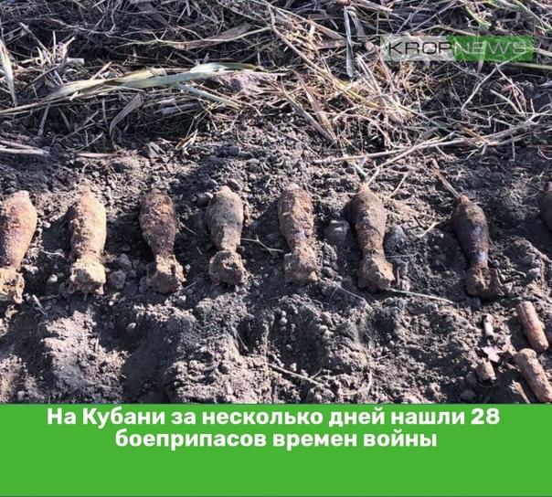На Кубани за несколько дней нашли 28 боеприпасов в...