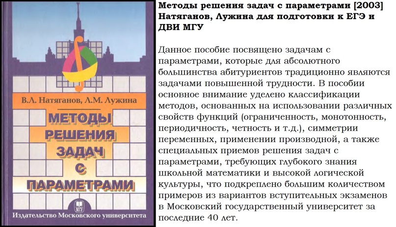 📘 Методы решения задач с параметрами [2003] Натяганов, Лужина для подготовки к ЕГЭ и ДВИ МГУ