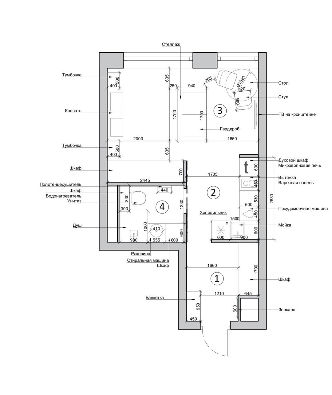 Проект квартиры-студии 30,7 кв.