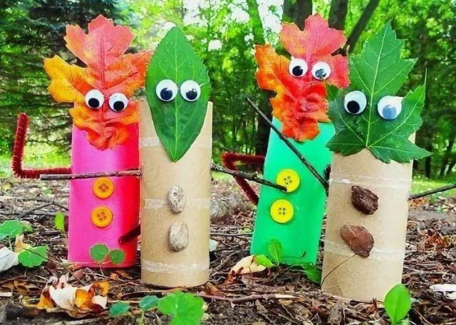 материалы природные, поделки осенние, , поделки из природных материалов,  своими руками, для детского сада, для школы, мастер-класс, идеи, из осенних листьев, из втулки, из картона, как сделать человечков из осенних листьев, человечки из листьев, фигурки из осенних листьев,