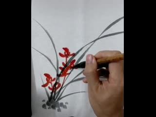 Видео-уроки рисования травы и листьев дикой орхидеи в стиле китайской живописи