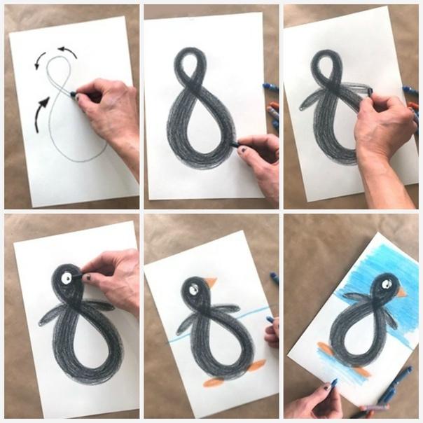 ПИНГВИНЫ Уроки рисования